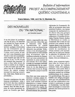 Bulletin d'information PAQG Vol.5 Nº12 Janvier – Février 1998 / Courtoisie du Projet Accompagnement Québec-Guatemala