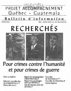 Bulletin d'information PAQG Nº24 Mai – Juillet 2000 / Courtoisie du Projet Accompagnement Québec-Guatemala