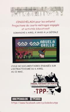 Présentation du Cinochelaga à la Déferle, film engagé sur l'extractivisme pour les enfants, avril-mai 2014