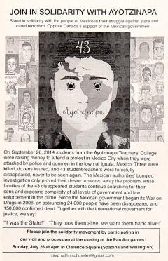 Vigile de solidarité avec les 43 faltan d'Ayotzinapa, 26 juillet 2015, Toronto
