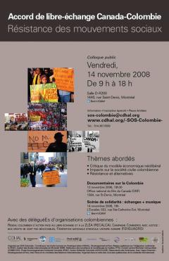 Accord de libre-échange Canada-Colombie, Résistance des mouvements sociaux, colloque publique, 14 novembre 2008