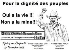 Action devant la GRC et soirée video-forum, en mémoire de Mariano Abarca, 27 novembre 2012
