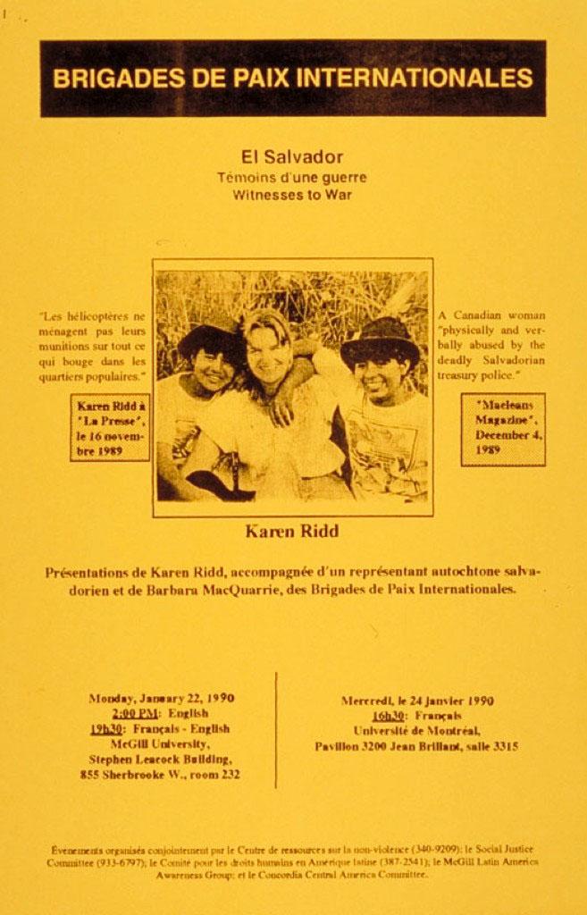 Brigades de paix internationales. Présentations de Karen Ridd, Salvador, 1990