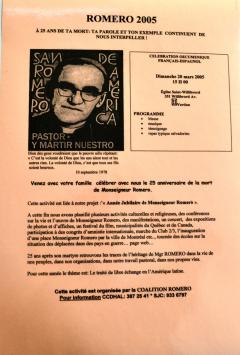 Célébration du 25e anniversaire de la mort de Monseigneur Romero, 20 mars 2005