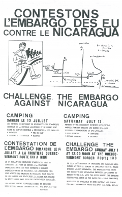 Contestons l'embargo des États-Unis contre le Nicaragua