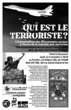 Criminalisation des mouvements sociaux à l'heure de la croisade anti-terroriste, panel et discussion, 5 novembre 2010