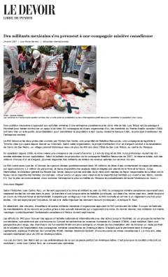 Des militants mexicains s'en prennent à une compagnie minière canadienne, Le Devoir, 24 août 2007