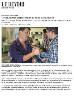 Des minières canadiennes au banc des accusés, 2 juin, 2014, version en ligne