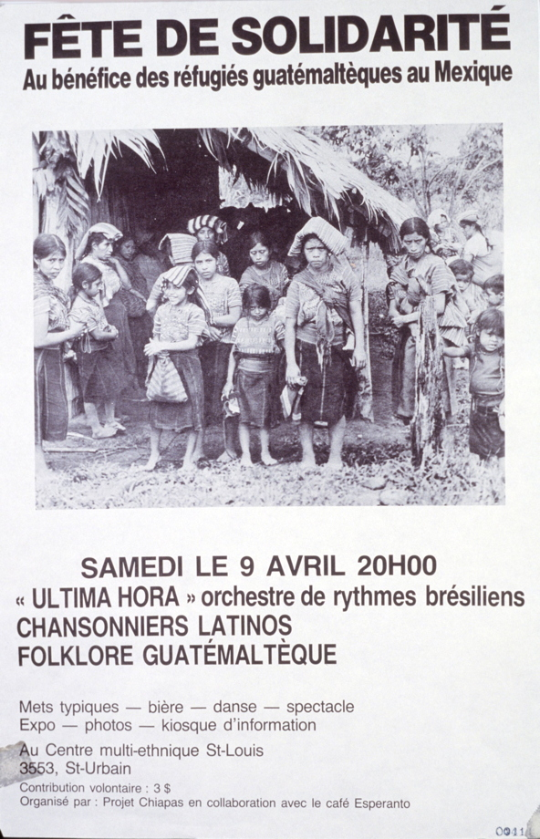 Fête de solidarité au bénéfice des réfugiés guatémaltèques au Mexique, 9 avril 1987