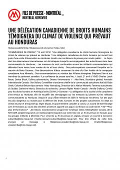 File de presse Montréal, comuniqué de presse, Une délégation canadienne de droits humains témoignera du climat de violence qui prévaut au Honduras, 19 avril 2016