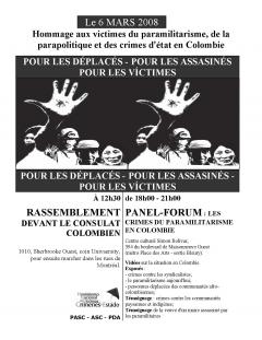 Hommage aux victimes du paramilitarisme, de la parapolitique et des crimes d'état en Colombie, 6 mars 2008