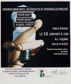 Hydrocarbures, oléoducs et hydroélectricité, table ronde à l'UQUAM, 16 janvier, 2014