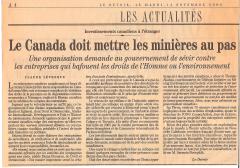 Le Canada doit mettre les minières au pas, LeDevoir, 14 novembre,2006