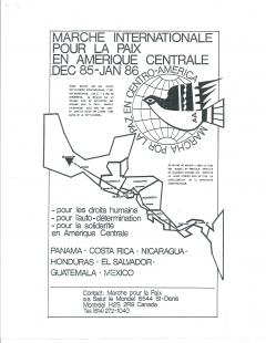 Marche Internationale pour la paix en Amérique centrale, décembre 1985 à janvier 1986