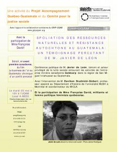 PAQG-Conférence résistance autochtone, 25 mai 2005