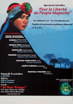 Spectacle bénéfice pour la liberté du Peuple Mapuche, 2 octobre 2010