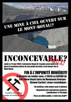 Une mine à ciel ouvert sur le Mont-Royal, Coalition pour que le monde ait meilleure mine, 11 mai 2009