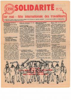 1er mai. Fête internationale des travailleurs. Solidarité, no.1 mai 1976