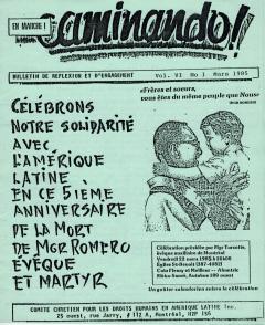 5ième anniversaire de la mort de Mgr Romero, Caminando, vol. 6, no.1, mars 1985_couverture
