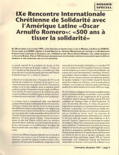 9e rencontre internationale chrétienne de solidairté avec l'Amérique latine Romero. Caminando, vol.12, no.3, pp.9-10, décembre 1991