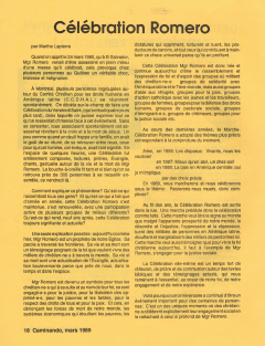 Célébration Romero. Caminando, vol.10, no.1, p.18, mars 1989