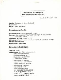 Célébration en solidarité avec le peuple salvadorien, 25 novembre 1989
