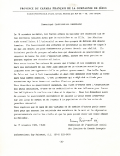 Communiqué, 17 novembre 1989_Centre justice et foi