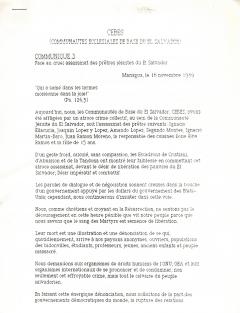 Communiqué 3, CEBES. 16 novembre 1989