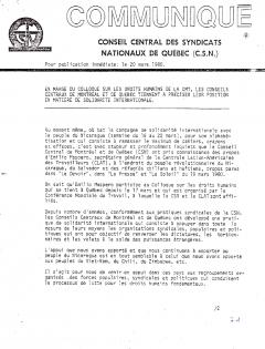 Communiqué de la CSN à propos de leur position en matière de solidarité internationale, 20 mars 1980