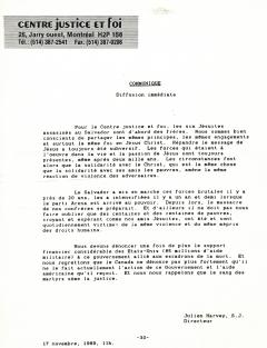 Communiqué du Centre justice et foi, 17 novembre 1989