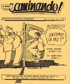 El Salvador. Queremos la paz, Caminando, vol.5, no.5, décembre 1984_couverture