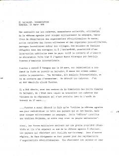 El Savaldor. Dénonciation de l'Agence Nueva Nicaragua (ANN)