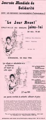 Journée mondiale de solidarité avec les réfugiés salvadoriens au Honduras, 20 mai 1984