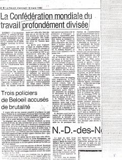 La Confédération mondiale du travail profondément divisée. Le Devoir, 19 mars 1980