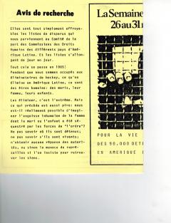La semaine du disparu du 26 au 31 mai 1985. Caminando, vol.6, no.2, pp.14-15