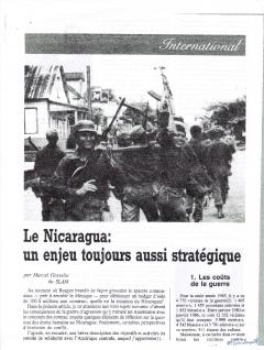 Le Nicaragua. Un enjeu toujours aussi stratégique. Par SLAM dans Libération, no.5, printemps 1986
