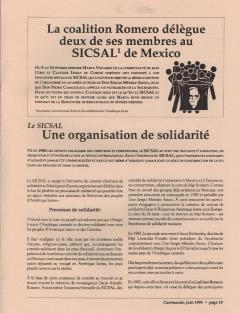 Le SICSAL, une organisation de solidarité. Caminando, vol. 13, no.3, pp.19 à 21 et 26, juin 1993