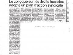 Le colloque pour les droits humains adopte un plan d'action syndicale. Le Devoir, 24 mars 1980, p.2