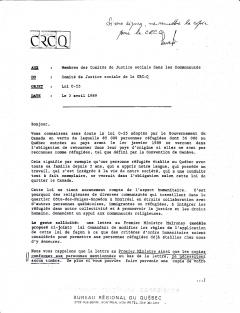 Lettre au Premier Ministre Mulroney à propos des réfugiés, 3 avril 1989