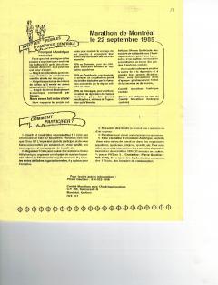 Marathon de Montréal du 22 septembre 1985. Caminando, vol.6, no.3, p.23