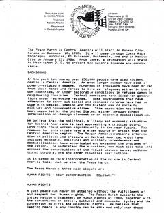 Marcha por la paz en Centro-America, 1985-1986