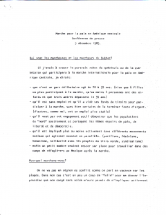 Marche pour la paix. Conférence de presse, 5 décembre 1985