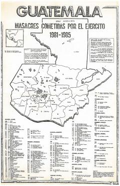Masacres cometidas por el ejercito 1981-1985, Guatemala. Mapa del PAQG