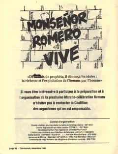 Monseñor Romero vive! Caminando, vol.10, no.4, p.34, décembre 1989