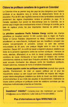 PASC, Ciblons les profiteurs canadiens de la guerre en Colombie, militantEs recherchées, 2013