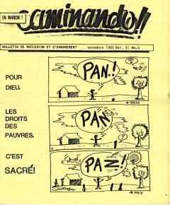 Pour Dieu, les droits des pauvres, c'est sacré! Caminando, vol.6, no.4, novembre 1985_couverture