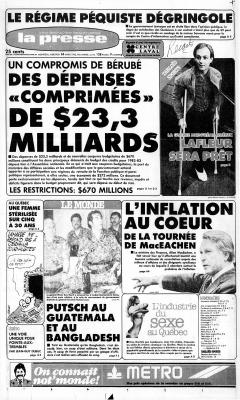 Putsch au Guatemala, La Presse, 24 mars 1982, p. A1