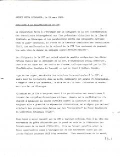 Réactions à la déclaration de la CTN. Agence Nueva Nicaragua, 20 mars 1980