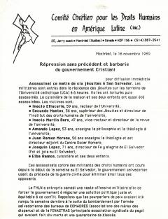 Répression sans précédent et barbarie du gouvernement Cristiani, CCDHAL, 16 novembre 1989