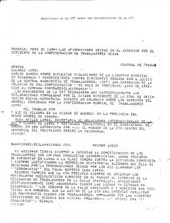 Reacciones de la CST sobre las declaraciones de la CTN, 20 mars 1980